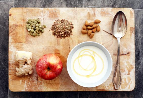frukost, fil med honung, ingefära, nyttig, hälsofrukost