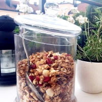 Crunchy cocos granola with cranberries!
